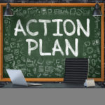 Action Plan - Hand Drawn on Green Chalkboard in Modern Office Workplace. Illustration with Doodle Design Elements. 3D.